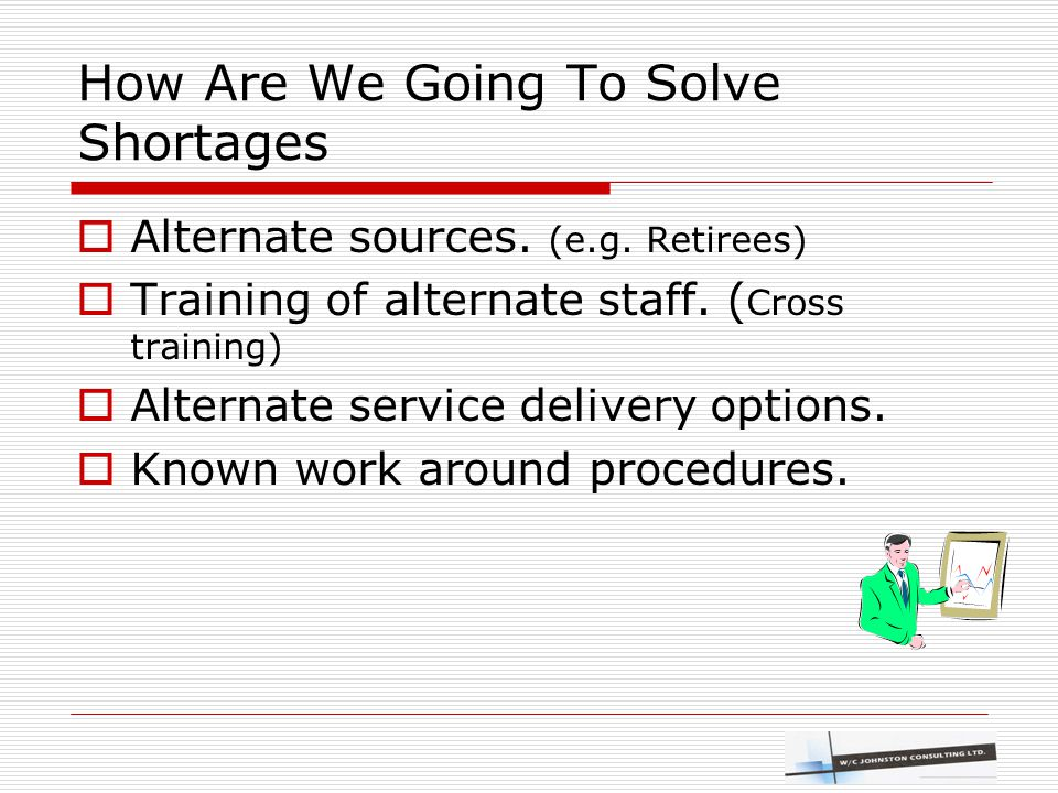 How Are We Going To Solve Shortages  Alternate sources. (e.g. Retirees)  Training of alternate staff. ( Cross training)  Alternate service delivery