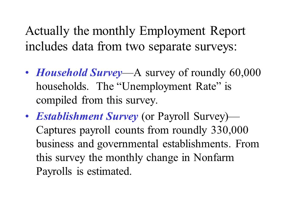 Actually the monthly Employment Report includes data from two separate surveys: Household Survey—A survey of roundly 60,000 households.