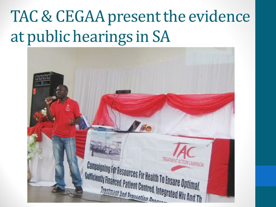 TAC & CEGAA present the evidence at public hearings in SA