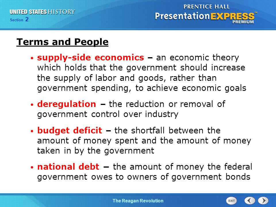 Chapter 25 Section 1 The Cold War Begins Section 2 The Reagan Revolution Terms and People supply-side economics – an economic theory which holds that