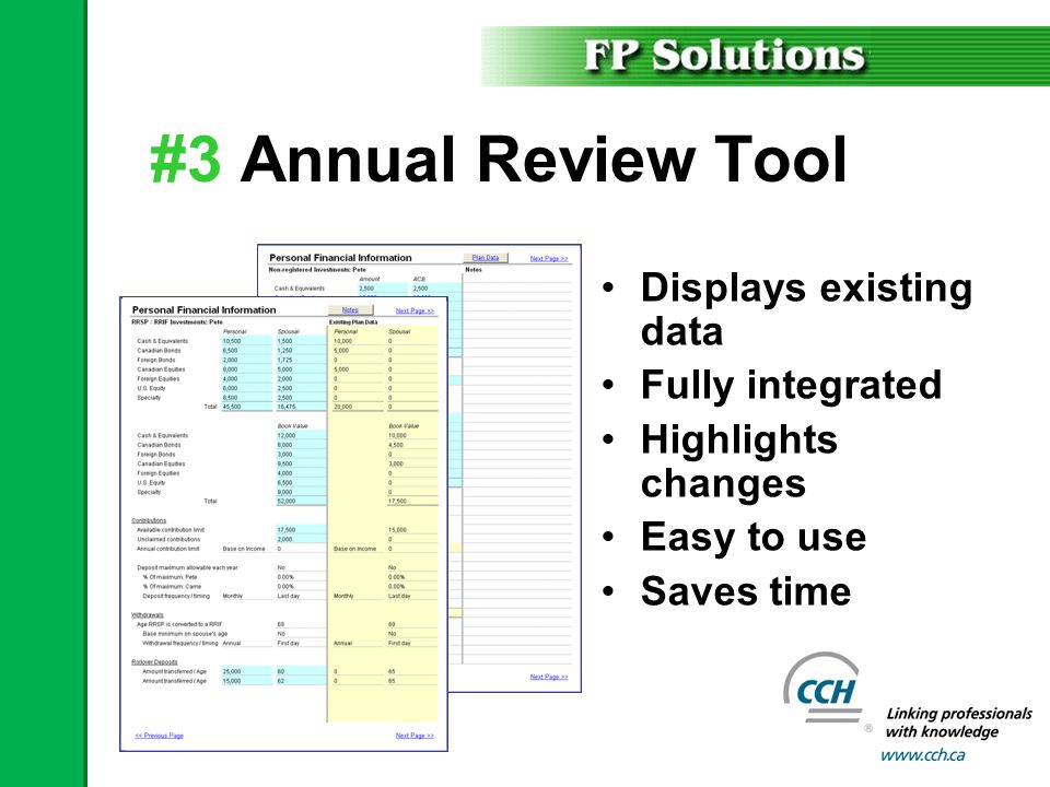 #3 Annual Review Tool Displays existing data Fully integrated Highlights changes Easy to use Saves time