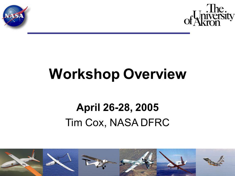 Workshop Overview April 26-28, 2005 Tim Cox, NASA DFRC