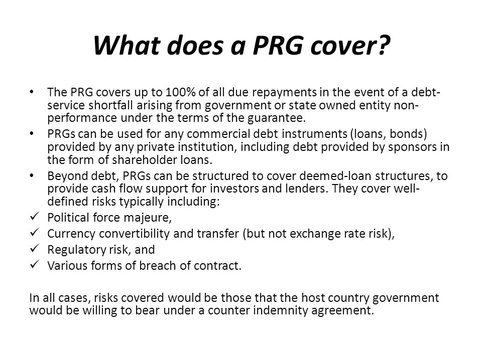 What does a PRG cover.