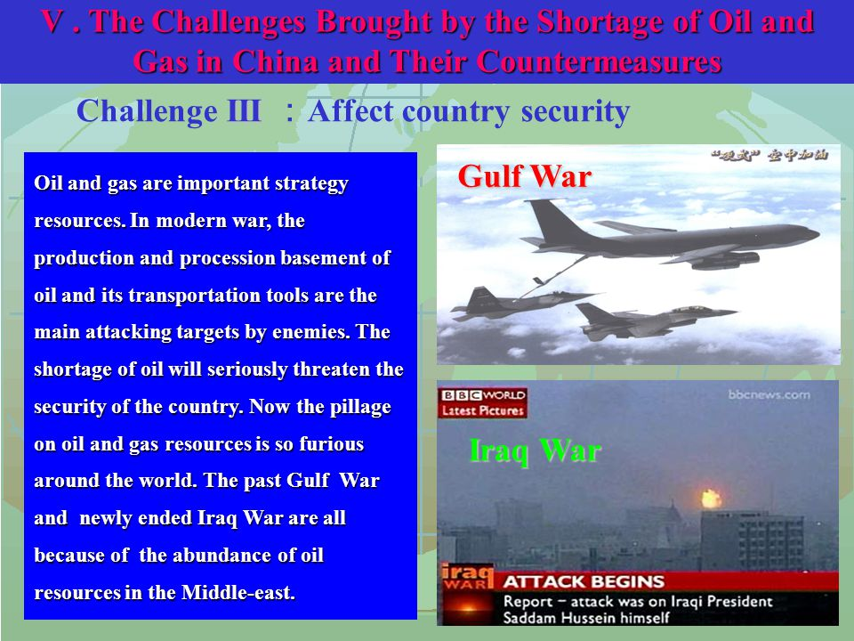 III Challenge III : Affect country security Gulf War Oil and gas are important strategy resources.