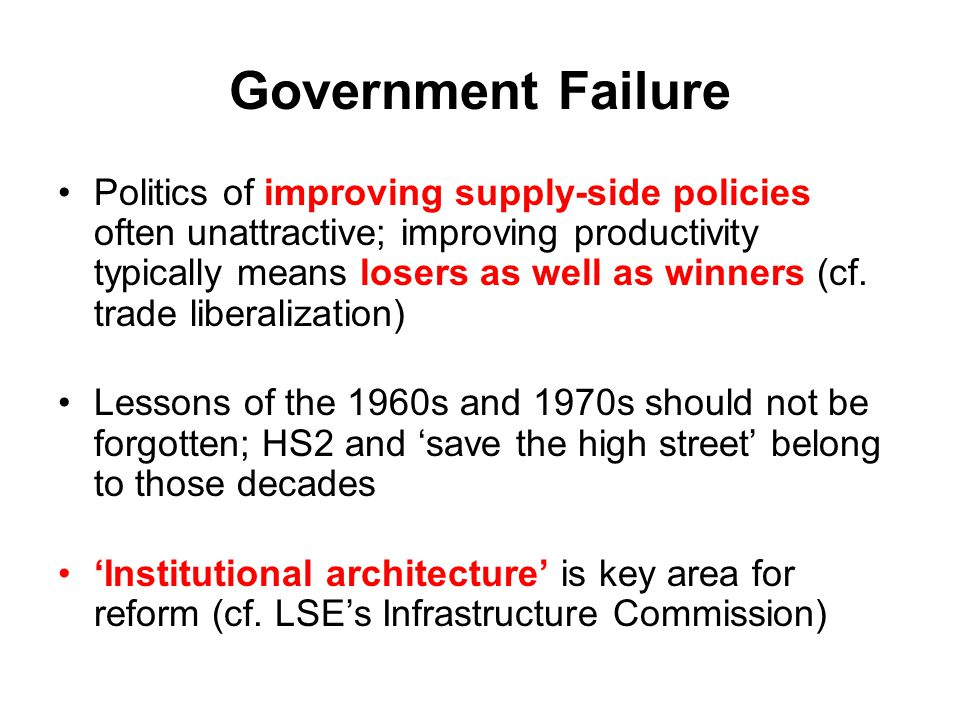 Government Failure Politics of improving supply-side policies often unattractive; improving productivity typically means losers as well as winners (cf