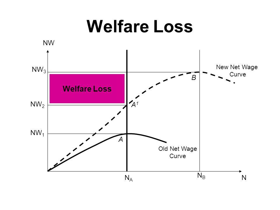 Welfare Loss NW 3 NW 2 NW 1 NANA NBNB N New Net Wage Curve Welfare Loss Old Net Wage Curve A B A1A1 NW