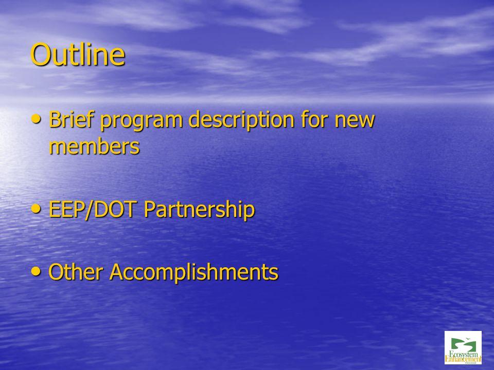 Outline Brief program description for new members Brief program description for new members EEP/DOT Partnership EEP/DOT Partnership Other Accomplishments Other Accomplishments
