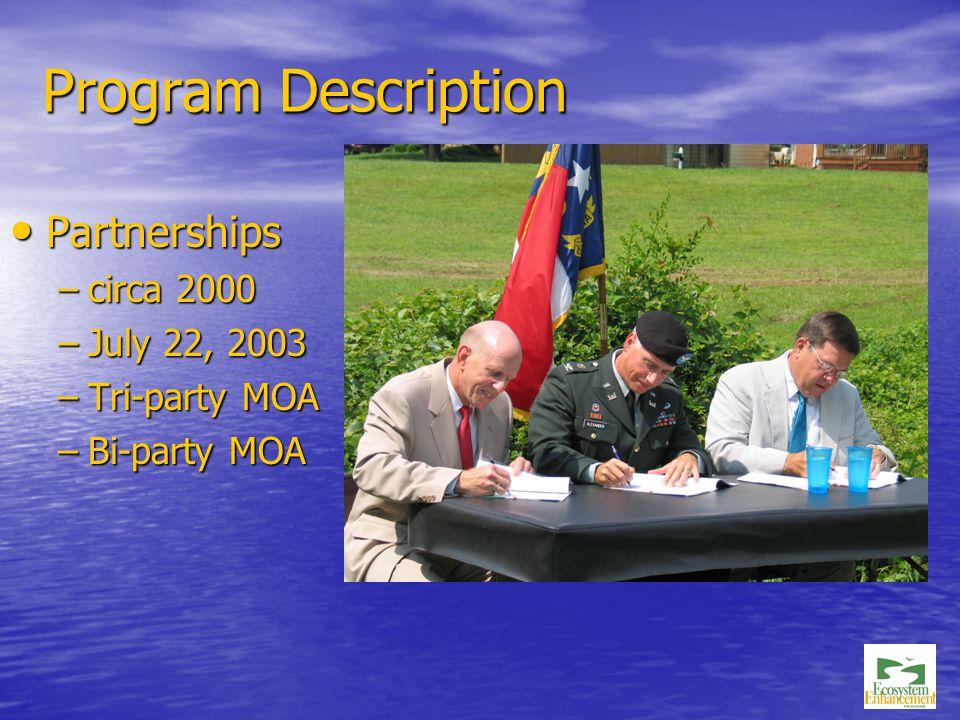 Program Description Partnerships Partnerships –circa 2000 –July 22, 2003 –Tri-party MOA –Bi-party MOA