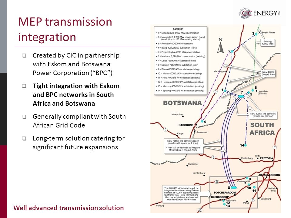 MEP transmission integration  Created by CIC in partnership with Eskom and Botswana Power Corporation ( BPC )  Tight integration with Eskom and BPC networks in South Africa and Botswana  Generally compliant with South African Grid Code  Long-term solution catering for significant future expansions Well advanced transmission solution