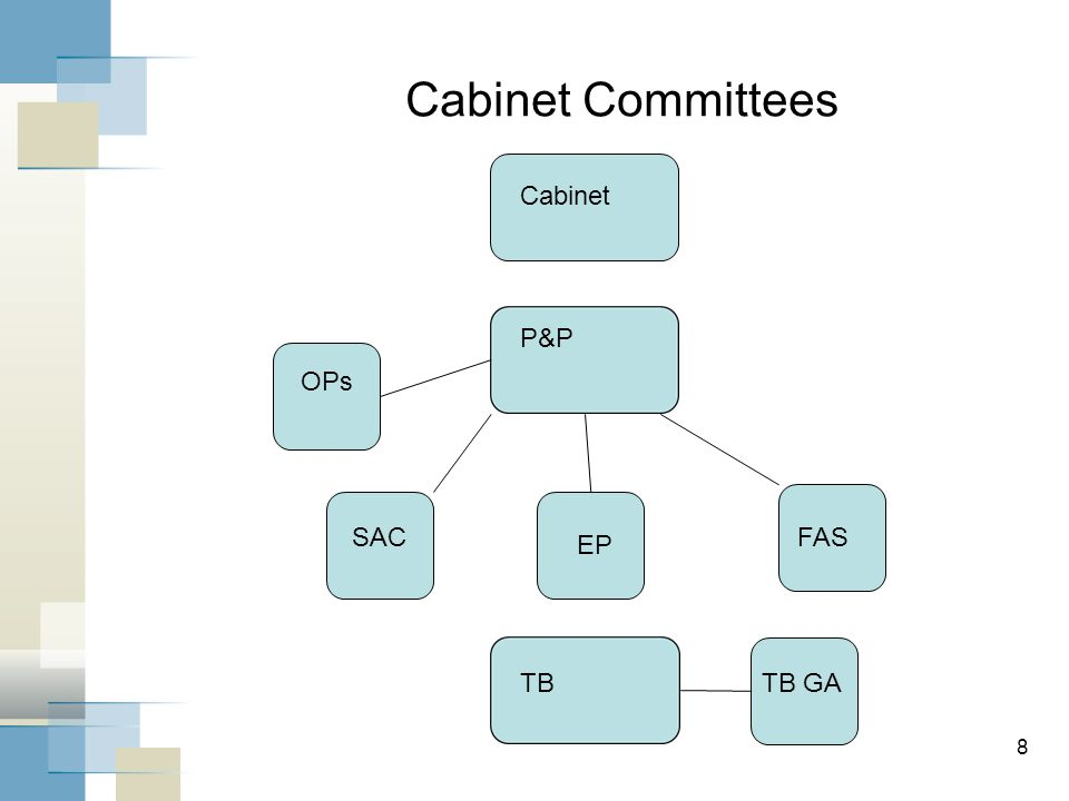 Cabinet Committees 8 Cabinet P&P OPs SAC EP FAS TBTB GA