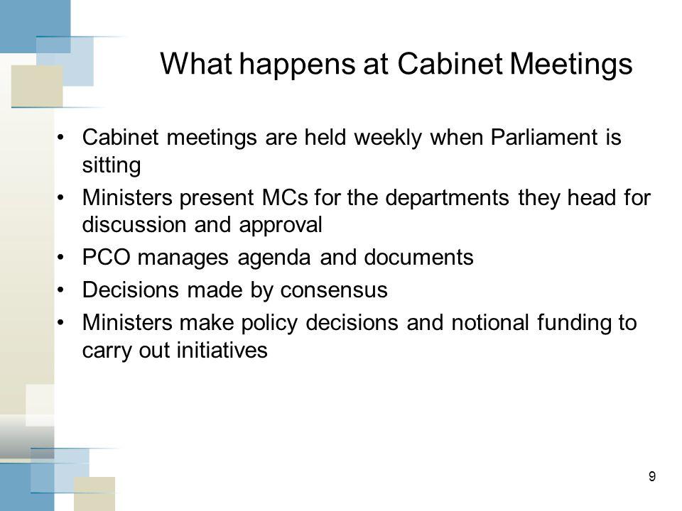 10 What happens at Treasury Board meetings.