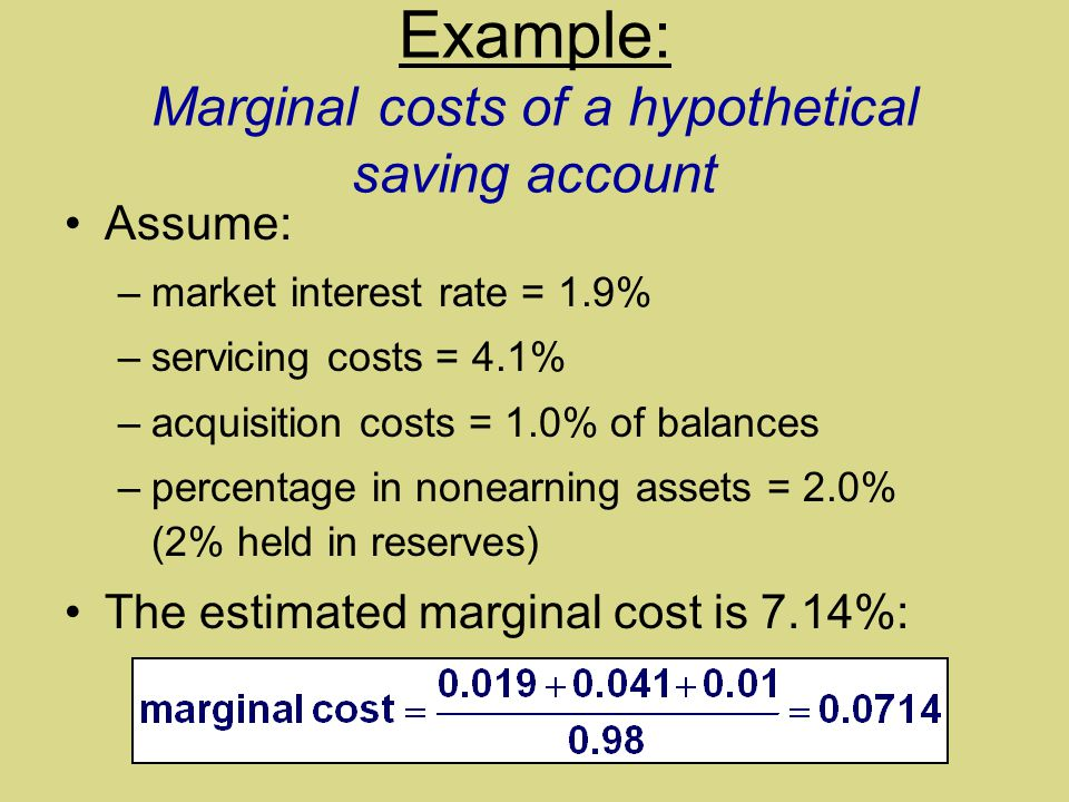 Example: Marginal costs of a hypothetical saving account Assume: –market interest rate = 1.9% –servicing costs = 4.1% –acquisition costs = 1.0% of balances –percentage in nonearning assets = 2.0% (2% held in reserves) The estimated marginal cost is 7.14%:
