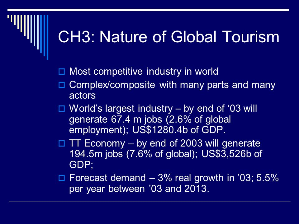 CH3: Nature of Global Tourism  Most competitive industry in world  Complex/composite with many parts and many actors  World's largest industry – by end of '03 will generate 67.4 m jobs (2.6% of global employment); US$1280.4b of GDP.