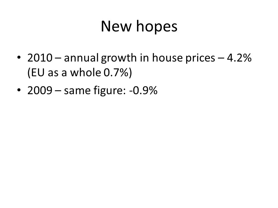 New hopes 2010 – annual growth in house prices – 4.2% (EU as a whole 0.7%) 2009 – same figure: -0.9%