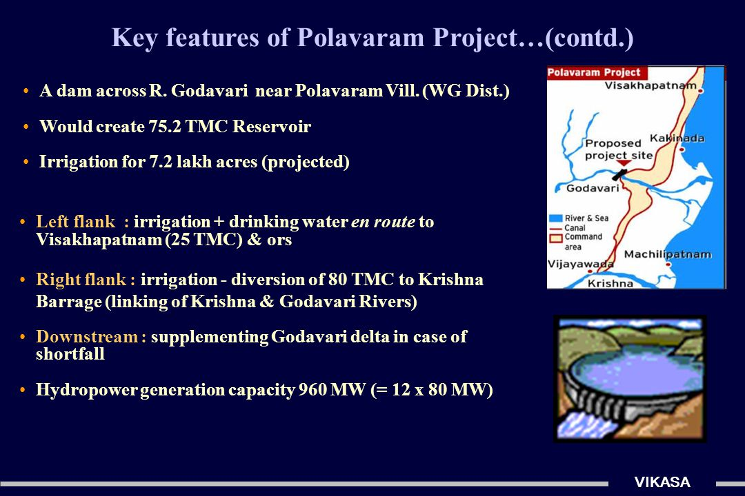 Key features of Polavaram Project…(contd.) VIKASA Left flank : irrigation + drinking water en route to Visakhapatnam (25 TMC) & ors Right flank : irrigation - diversion of 80 TMC to Krishna Barrage (linking of Krishna & Godavari Rivers) Downstream : supplementing Godavari delta in case of shortfall Hydropower generation capacity 960 MW (= 12 x 80 MW) A dam across R.