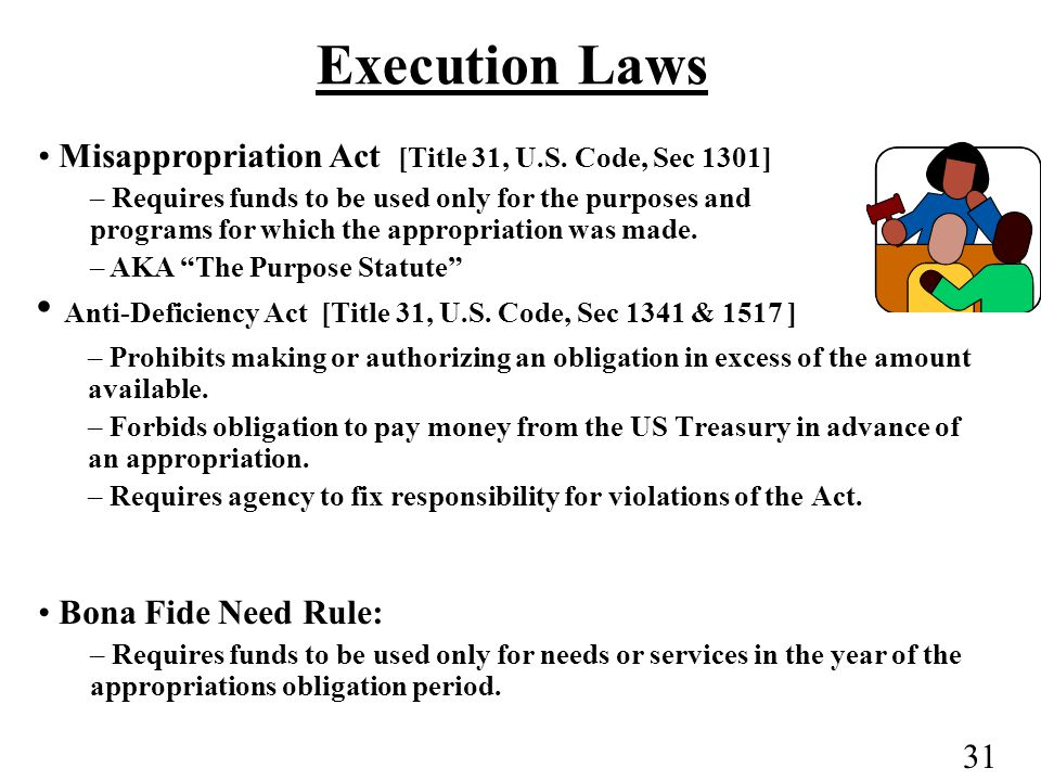 31 Execution Laws Anti-Deficiency Act [Title 31, U.S.