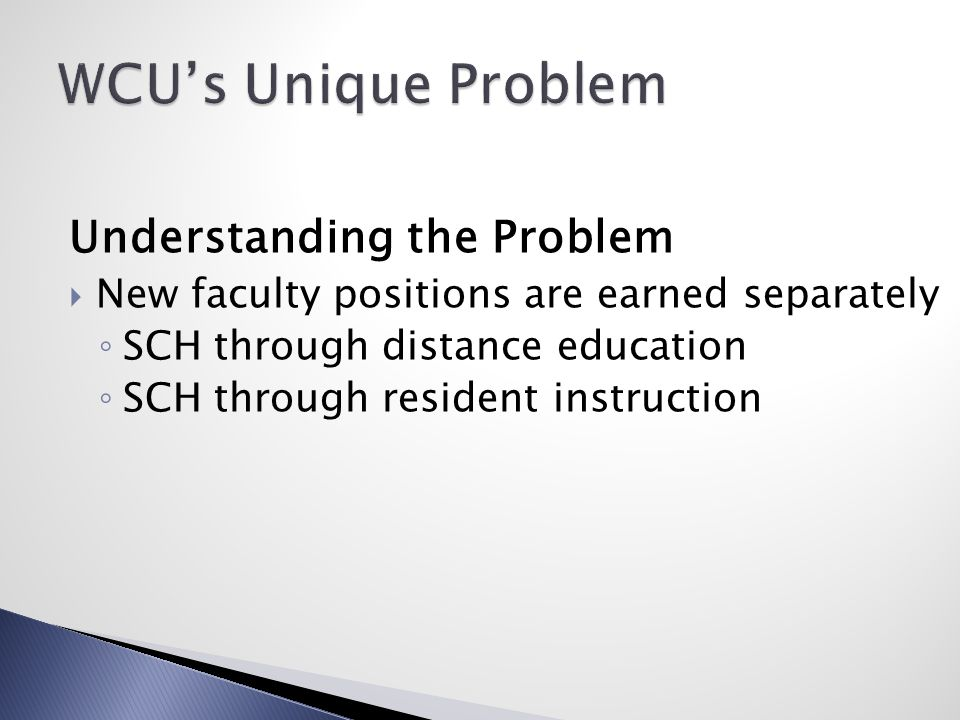 Understanding the Problem  New faculty positions are earned separately ◦ SCH through distance education ◦ SCH through resident instruction