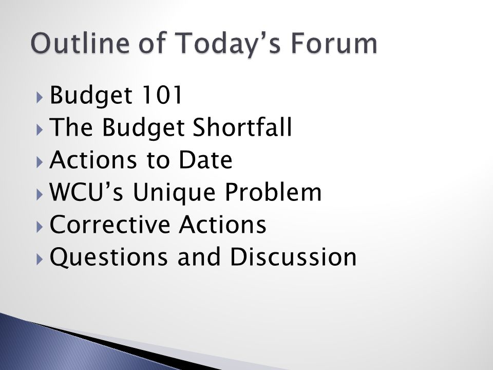  Budget 101  The Budget Shortfall  Actions to Date  WCU's Unique Problem  Corrective Actions  Questions and Discussion