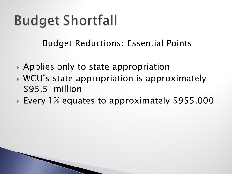 Budget Reductions: Essential Points  Applies only to state appropriation  WCU's state appropriation is approximately $95.5 million  Every 1% equates to approximately $955,000