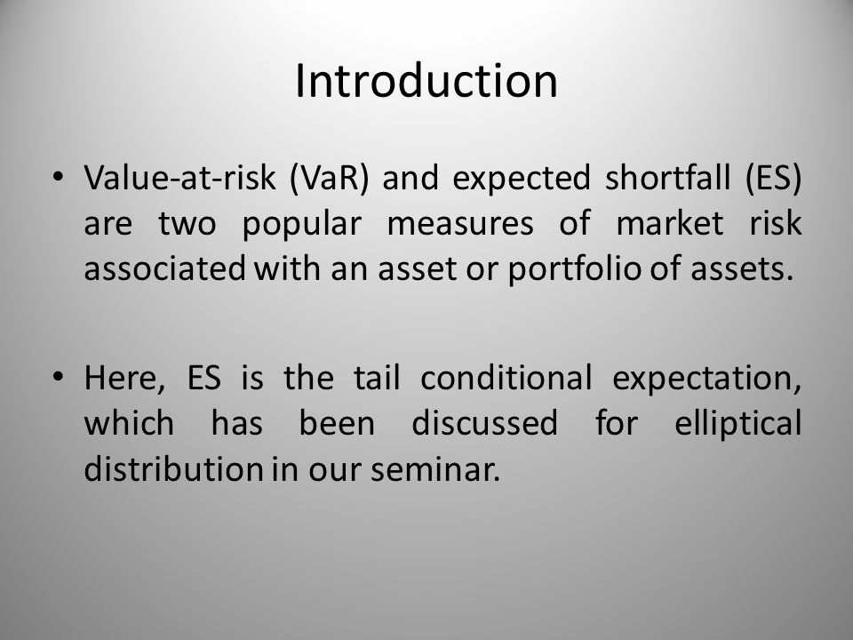 Introduction Value-at-risk (VaR) and expected shortfall (ES) are two popular measures of market risk associated with an asset or portfolio of assets.