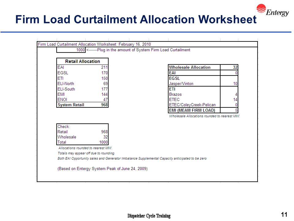 11 Firm Load Curtailment Allocation Worksheet