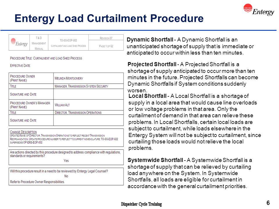 7 Entergy Load Risk Alert Protocols (ELRAL).