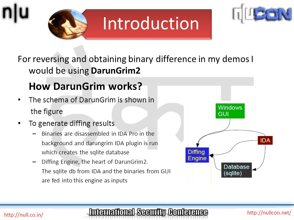 For reversing and obtaining binary difference in my demos I would be using DarunGrim2 How DarunGrim works.