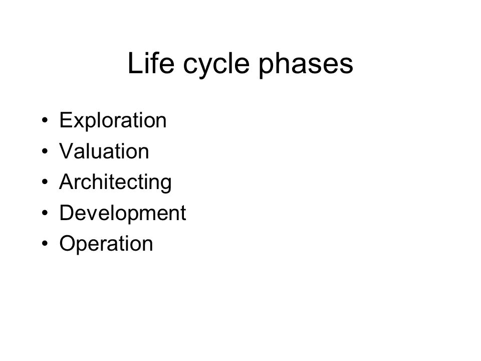 Life cycle phases Exploration Valuation Architecting Development Operation