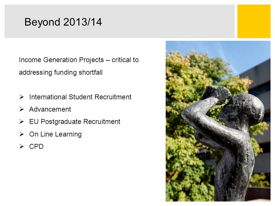 Beyond 2013/14 Income Generation Projects – critical to addressing funding shortfall  International Student Recruitment  Advancement  EU Postgradua