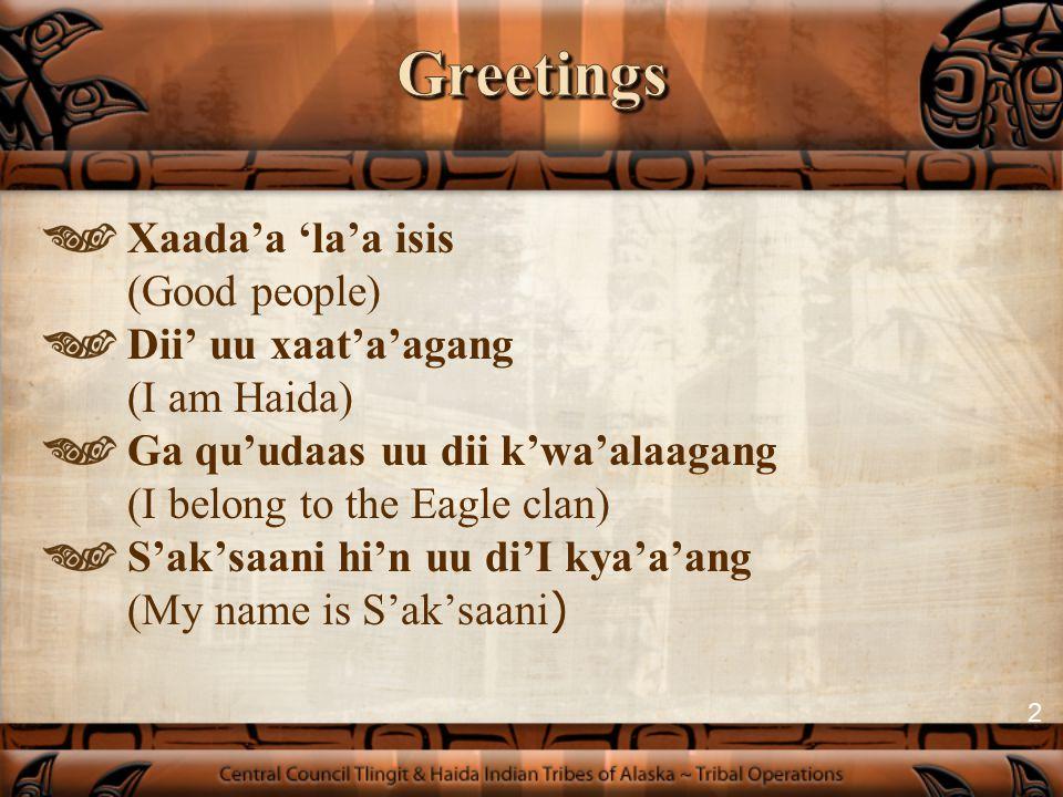 Haida Name:S'ak'saani Tlingit Name:Daanna' Shawa'at (Money Woman) Haida Clan: Eagle/Frog/Sculpin Tlingit Clan: Raven/Coho 3