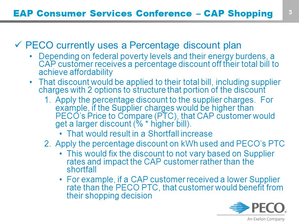 3 EAP Consumer Services Conference – CAP Shopping PECO currently uses a Percentage discount plan Depending on federal poverty levels and their energy burdens, a CAP customer receives a percentage discount off their total bill to achieve affordability That discount would be applied to their total bill, including supplier charges with 2 options to structure that portion of the discount 1.Apply the percentage discount to the supplier charges.