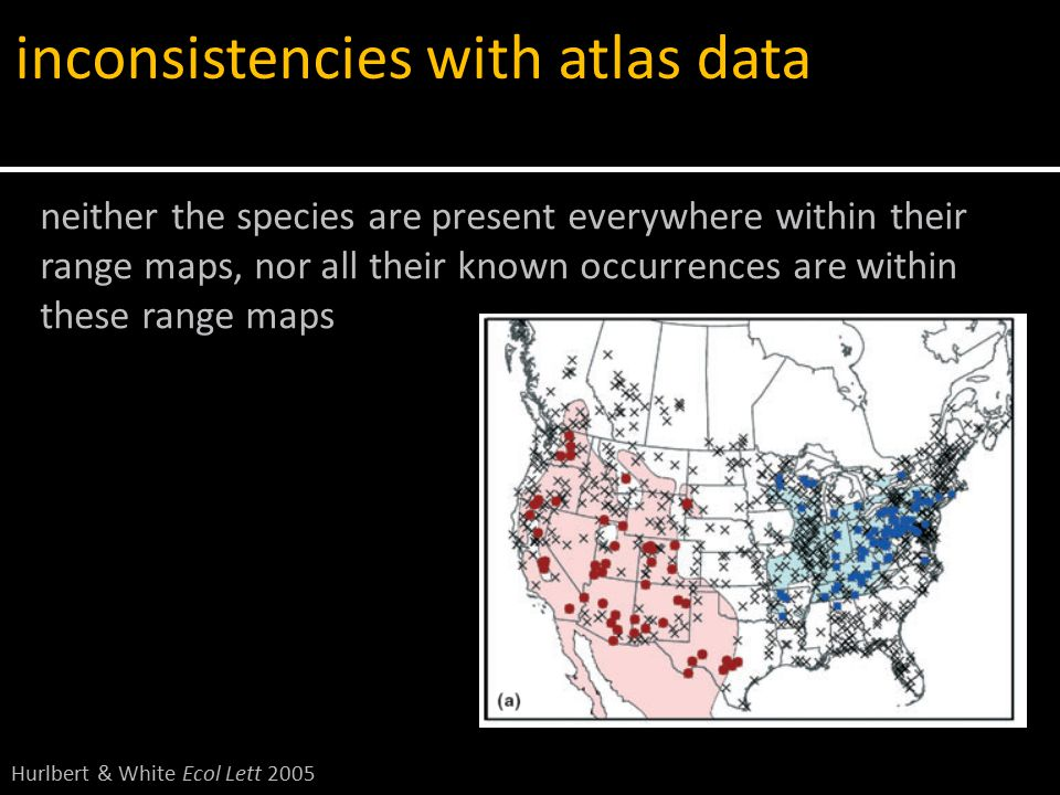 neither the species are present everywhere within their range maps, nor all their known occurrences are within these range maps inconsistencies with atlas data Hurlbert & White Ecol Lett 2005