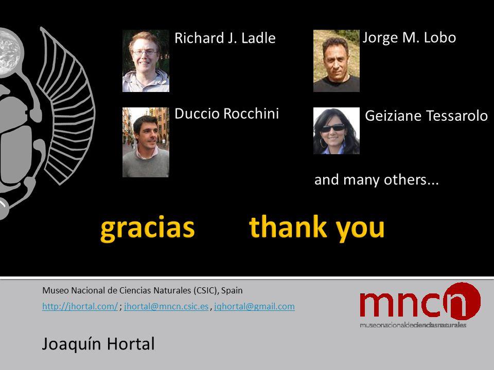 Museo Nacional de Ciencias Naturales (CSIC), Spain http://jhortal.com/http://jhortal.com/ ; jhortal@mncn.csic.es, jqhortal@gmail.comjhortal@mncn.csic.esjqhortal@gmail.com Joaquín Hortal Richard J.