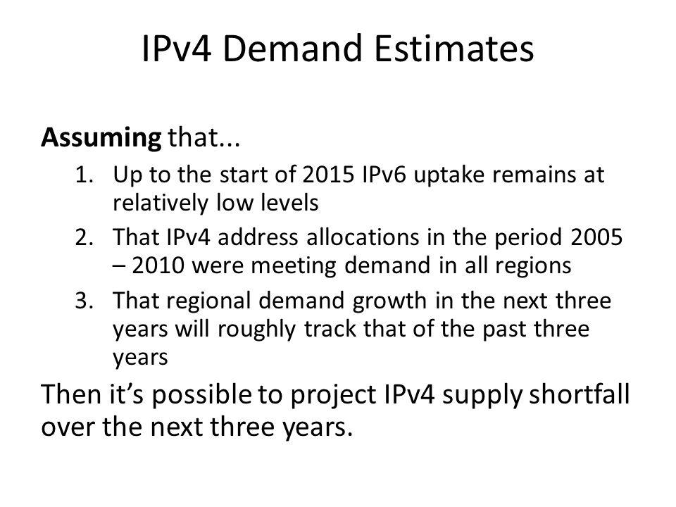 IPv4 Demand Estimates Assuming that...