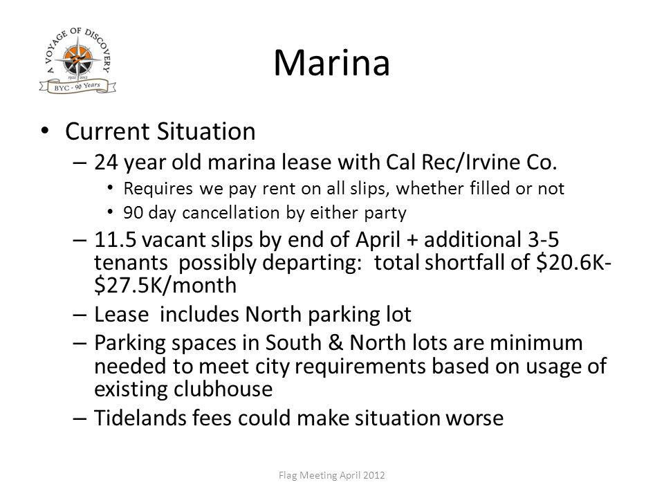 Marina Current Situation – 24 year old marina lease with Cal Rec/Irvine Co.