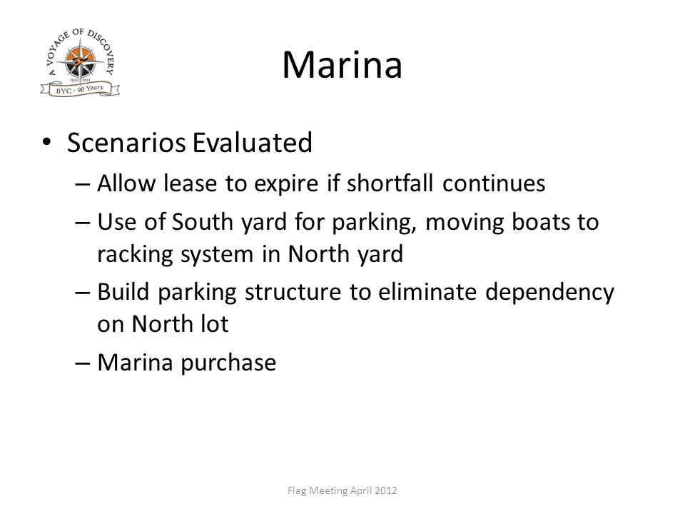 Marina Scenarios Evaluated – Allow lease to expire if shortfall continues – Use of South yard for parking, moving boats to racking system in North yard – Build parking structure to eliminate dependency on North lot – Marina purchase Flag Meeting April 2012