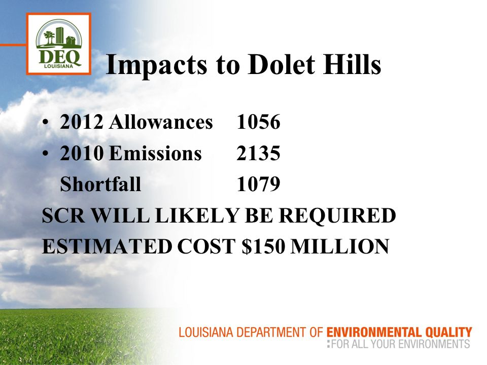 Impacts to NRG Big Cajun 2 2012 Allowances2842 2010 Emissions5265 Shortfall2423 SCR(s) WILL LIKELY BE REQUIRED COSTS???