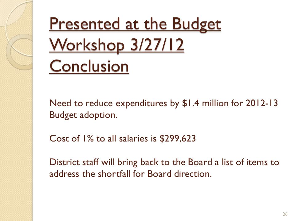 Presented at the Budget Workshop 3/27/12 Conclusion Presented at the Budget Workshop 3/27/12 Conclusion Need to reduce expenditures by $1.4 million for 2012-13 Budget adoption.