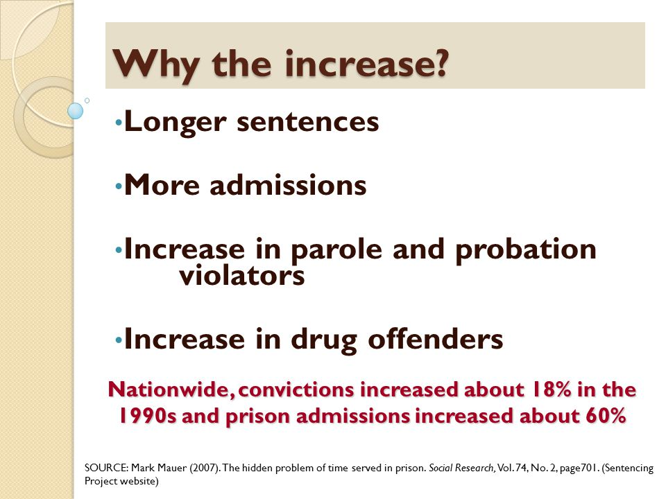 Why the increase? Longer sentences Longer sentences More admissions More admissions Increase in parole and probation violators Increase in parole and