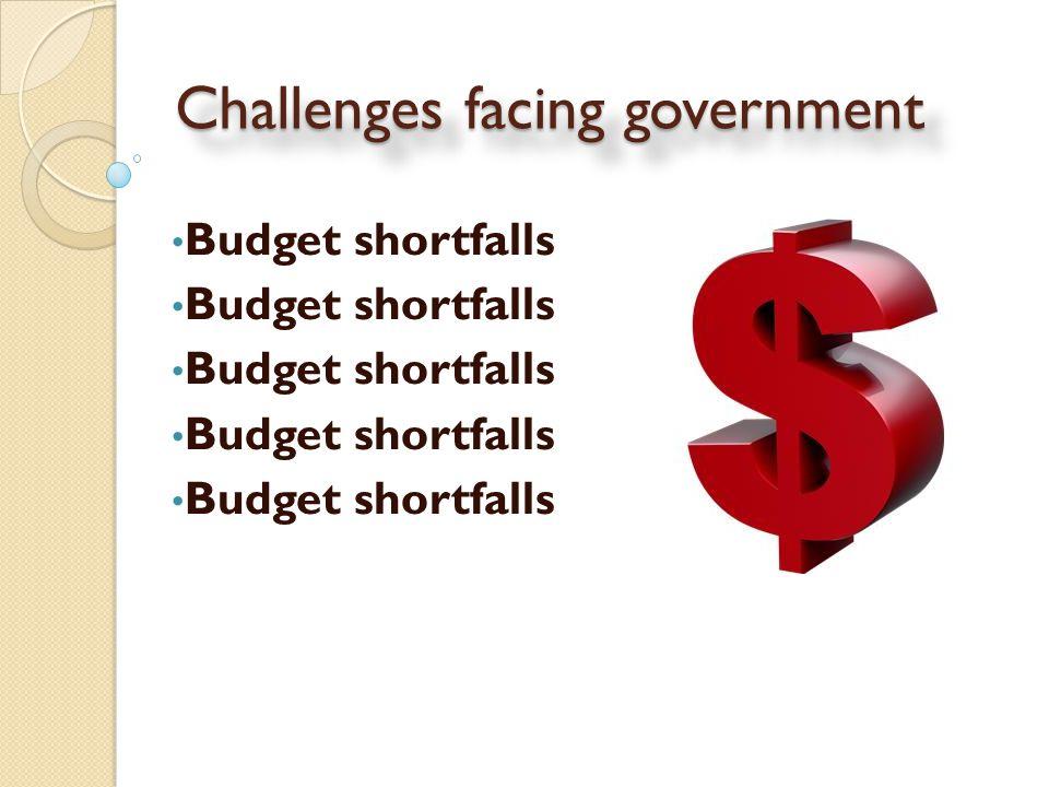 Challenges facing government Budget shortfalls