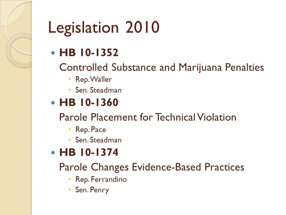 Legislation 2010 HB 10-1352 Controlled Substance and Marijuana Penalties  Rep.