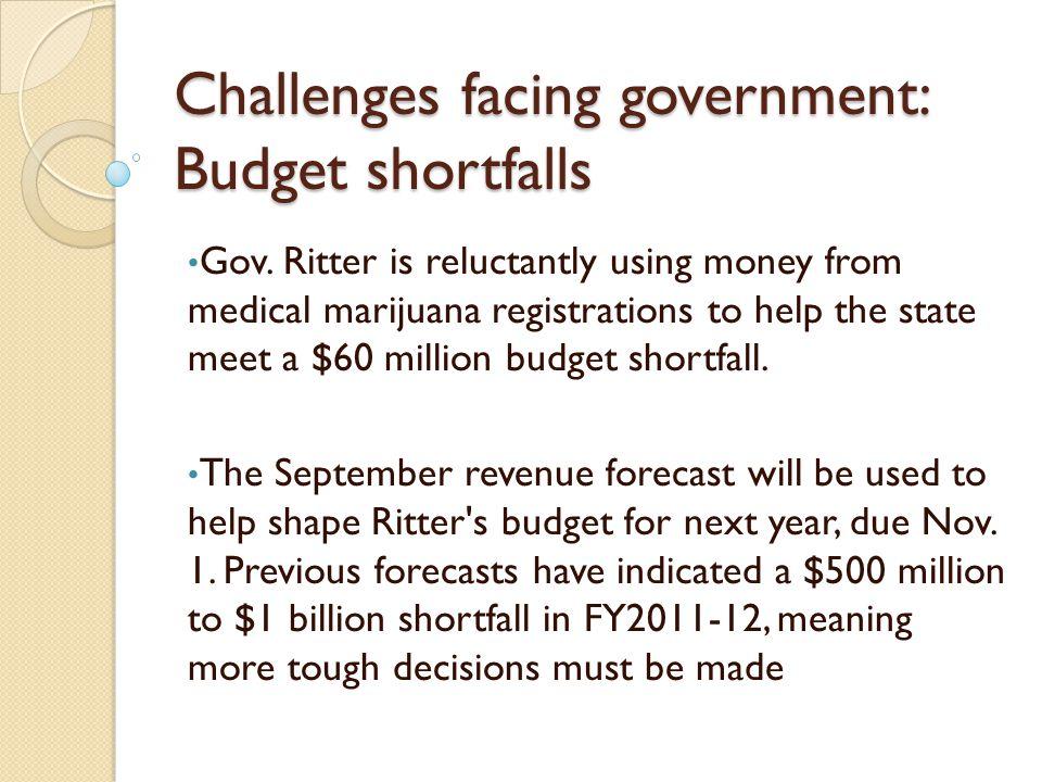 Challenges facing government: Budget shortfalls Gov.