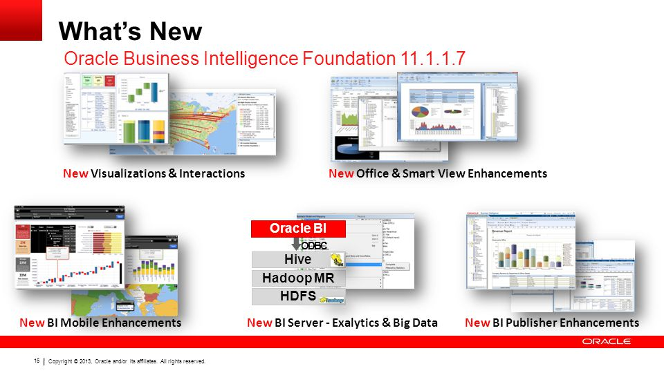 Copyright © 2013, Oracle and/or its affiliates. All rights reserved. 16 What's New Oracle Business Intelligence Foundation 11.1.1.7 HDFS Hadoop MR Hiv