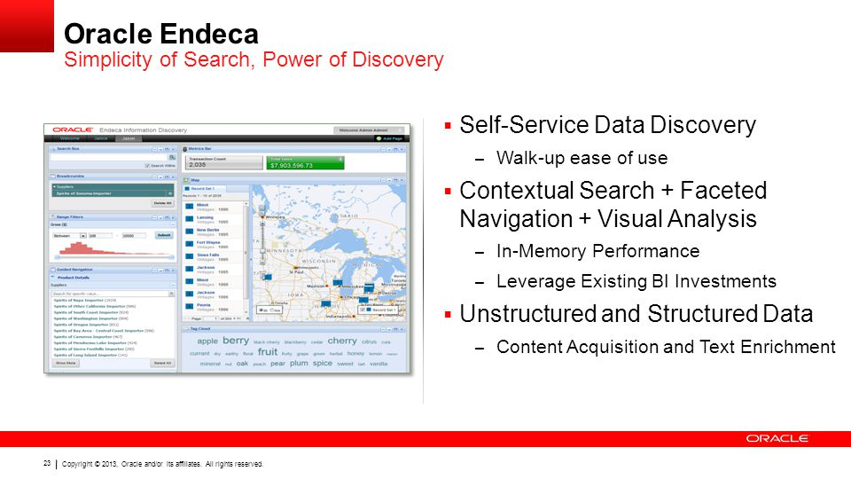 Copyright © 2013, Oracle and/or its affiliates. All rights reserved. 23 Oracle Endeca  Self-Service Data Discovery – Walk-up ease of use  Contextual