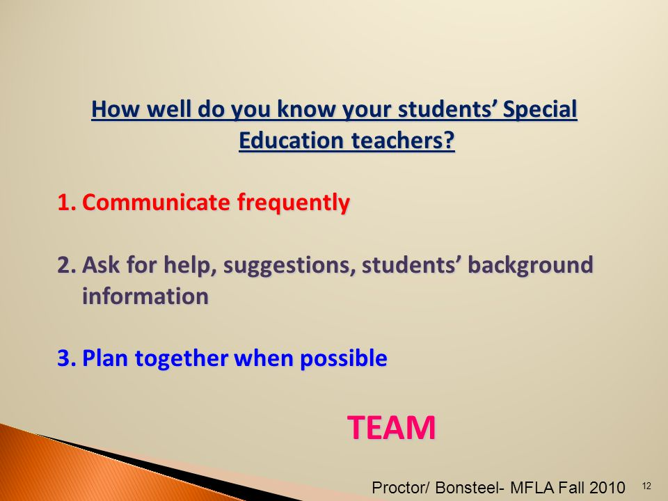 How well do you know your students' Special Education teachers.