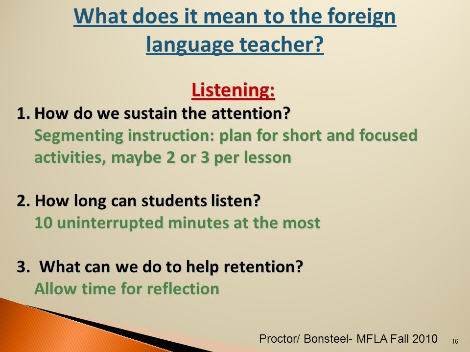 What does it mean to the foreign language teacher.