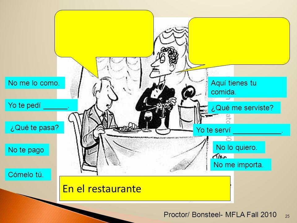 En el restaurante No me lo como. Yo te pedí ______.