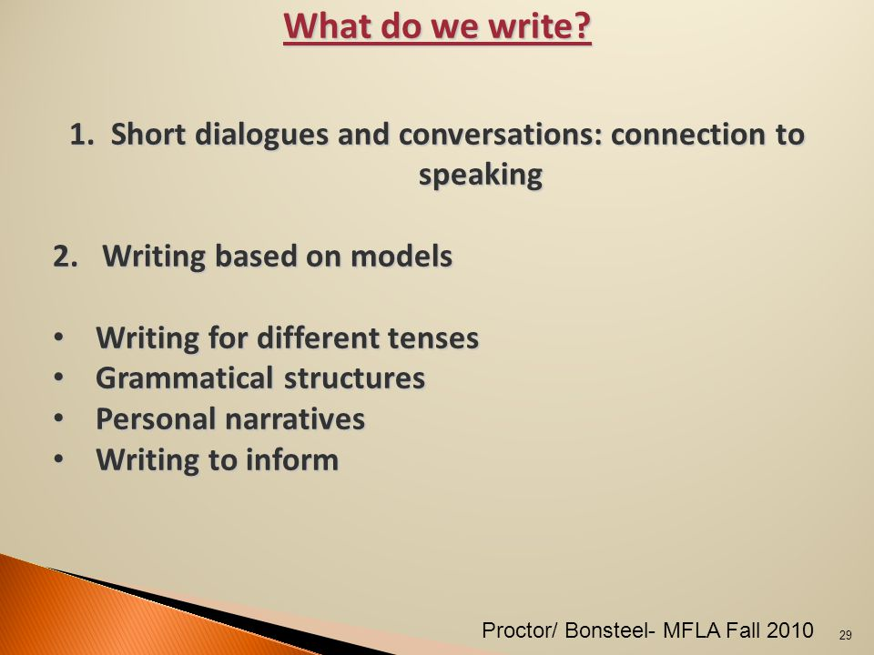 What do we write. 1.