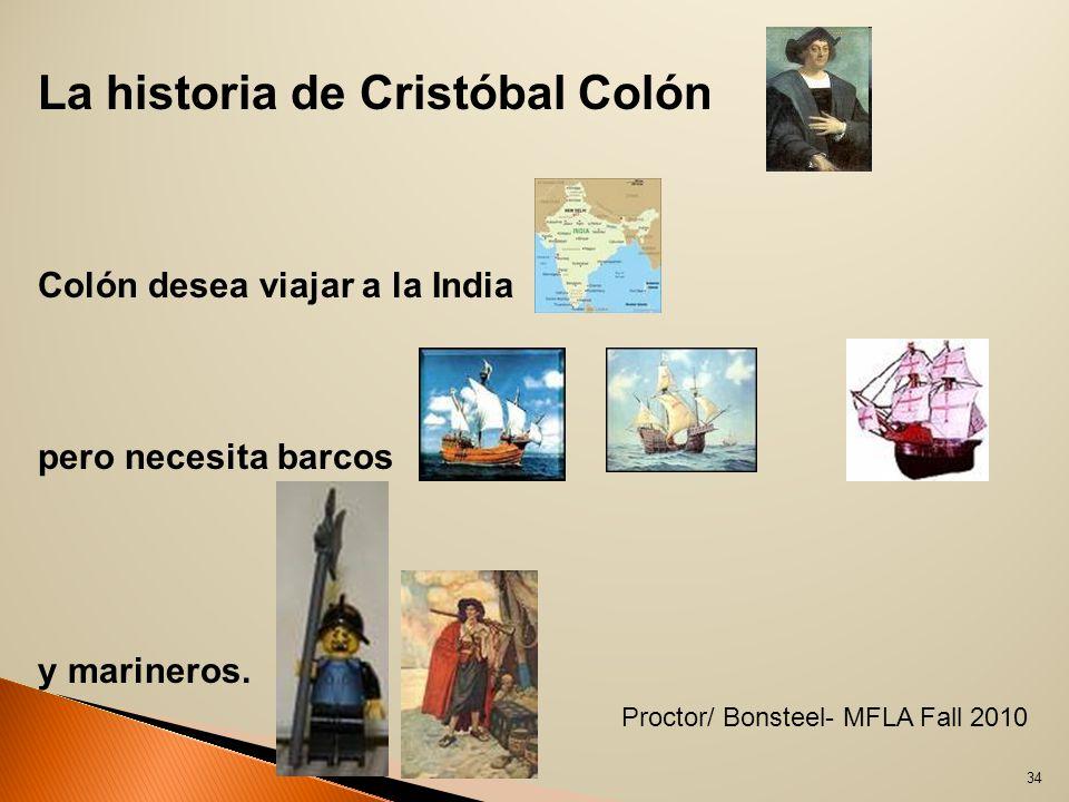 La historia de Cristóbal Colón Colón desea viajar a la India pero necesita barcos y marineros.