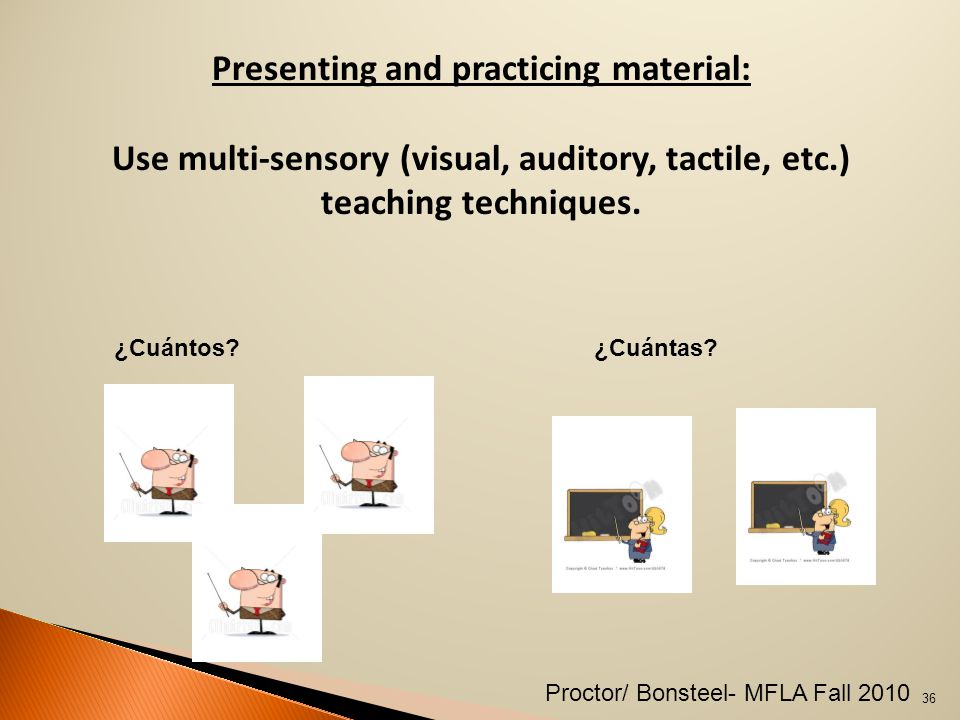 Presenting and practicing material: Use multi-sensory (visual, auditory, tactile, etc.) teaching techniques.